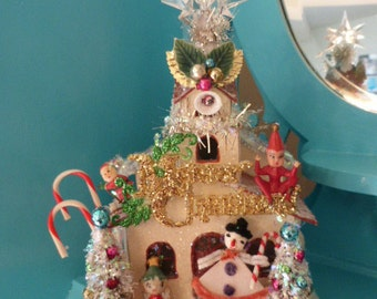 Jacked Up Vintage Style Christmas Putz Church Holt Howard Pixie Angel