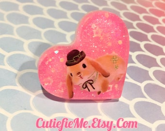 Kawaii Bunny With Hat Pink Glitter Resin Heart Ring