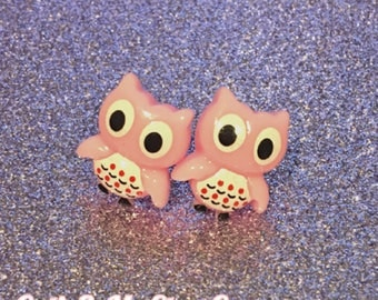 Kawaii Owl Bird Baby Pink Stud Earrings