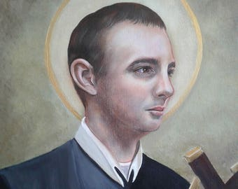"""Saint Gerard Majella, Religious, Redemptorist, 8""""x10"""" and 11""""x14"""" Prints on White Card Stock, Images Taken from Original Acrylic Painting"""