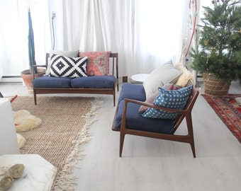 Danish Modern Baumritter Style Two Sofa Sectional with Blue Cushions
