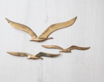 Modern Brass Birds Wall Hanging (Set of 3)