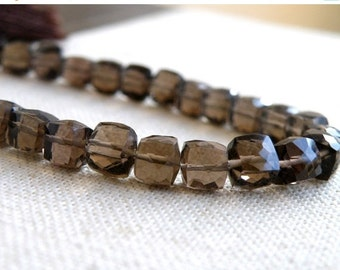 Final 51% off Sale Smoky Quartz Gemstone Briolette AAA Faceted Cube 6mm 18 beads 1/2 strand