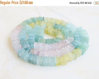 Final 51% off Sale Aquamarine Gemstone Heishi Shaded Blue Green Faceted 5 to 5.5mm 100 beads