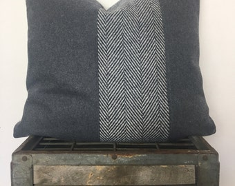 Grey herringbone and charcoal wool pillow cover/ 20x20/ Ready to ship