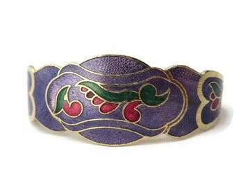 Bangle Bracelet - Purple Enamel Clamper Bracelet