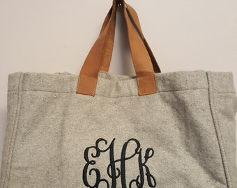 Monogram Wool Tote Leather Handles