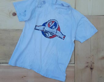 Vintage GRATEFUL DEAD T-Shirt // Rare Vtg 80s Distressed Trashed Steal Your Face Shakedown Lot Tee