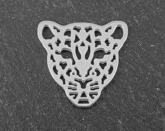 Sterling Silver Leopard Connector 17.5mm (CG9263)