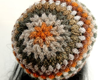 Crocheted Puff Stitch Beanie. Multicolored. Hat.