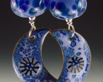 Hollow bead earrings in speckled blue with blue moon enameled charms