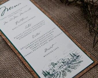 Winery Vineyard Wedding Menu Layered Cork Deposit