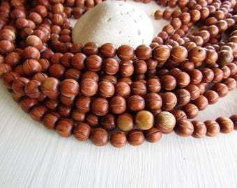 Bayong round wood beads , brown red tone , carved with line , Natural exotic supplies , Philippines , 10mm ( 20 beads , half strand  ) 6PH11