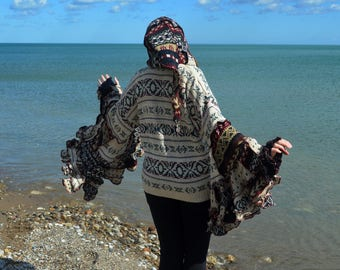 Blackberry Crumb Wool Free  4X frankensweater hoodie upcycled recycled gypsy sweater 107