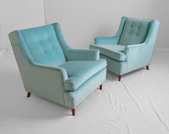 10% SALE 2 mid century modern AQUA blue velvet tufted club chairs
