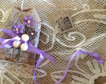 Tea Bag ALTERED ART - Filled with French Lavender Buds  - Embellished w/ Flowers  - Silk Bow -  Pearls Perfect for Ladies Tea - Garden Party