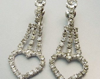 Vintage Rhinestone Heart Clip Earrings