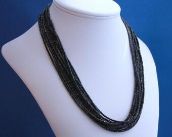 Faceted Black Multistrand Black Spinel Necklace