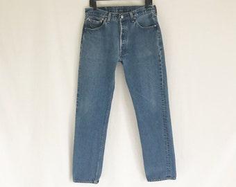 Vintage 80's LEVIS 501 Straight Leg Jeans. Tagged size 35 x 38. Waist 32