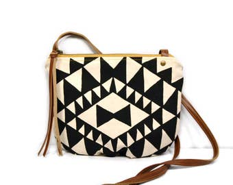 date purse  • small cross body purse - handprinted • black and white triangle geometric print - black waxed canvas • crossbody bag