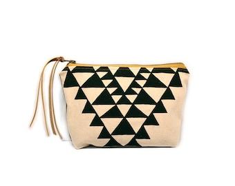 cosmetic pouch • geometric zipper bag • black and white triangle print - waxed canvas - geometric print • large clutch - make up bag