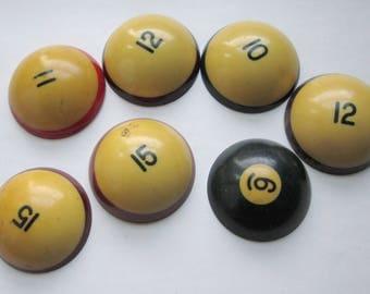 7 pcs. vintage bakelite billiard pool balls sliced to make large cabochons flat back