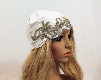 Vintage Couture Lace Embellished Bridal Cap-Lined or unlined- CRBoggs Original
