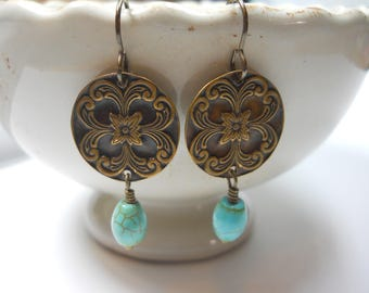 Brass Medallion Earrings with Turquoise Stone Beads Dangle Drop Embossed Metal Discs Round Circle Ornate Jewelry