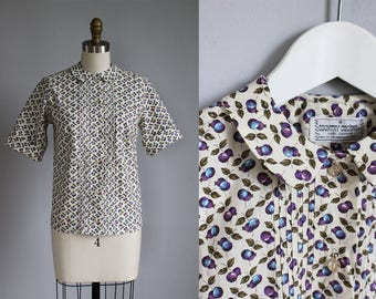 1960s blueberry cotton print pin tuck shirt - rounded collar - button up - xs - s