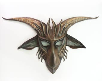 Baphomet Goat Leather Mask  Krampus Satyr