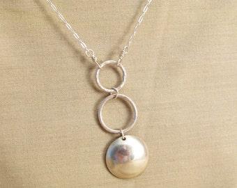 Silver circle pendant - silver necklace - circle necklace - circle pendant - silver ring pendant - minimalist pendant - minimalist necklace