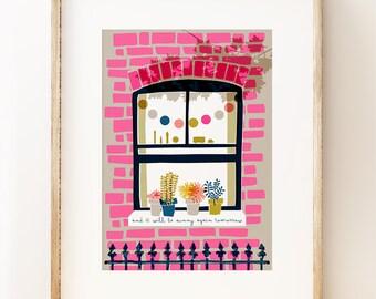 Sunny Again Tomorrow - colourful London wall art print
