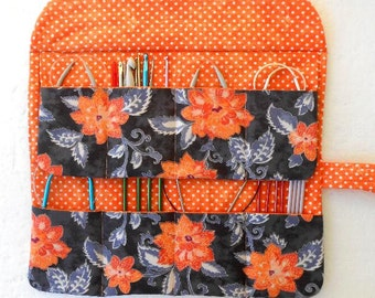 Circular Knitting Needle Case, Grey Orange Floral and Polka Dots Crochet Hook Storage Organizer, Double Pointed Needle DPN or Brushes Roll