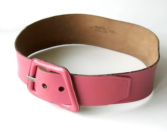 Womens' Vintage PINK Leather Belt - Mahler Top Grain Cowhide Belt / Leather-wrapped Buckle  / Size 26
