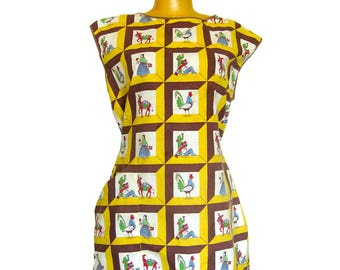 Vintage Apron - Mexican Themed Novelty Print Fabric / Cactus / Siesta / Rooster / Donkey