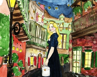 A Night In New Orleans Fashion Illustration Print