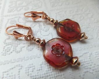 Marbled Red Czech Coin Beads with Rose Gold Spacers on Nickel Free Rose Gold Shell Leverback Hooks