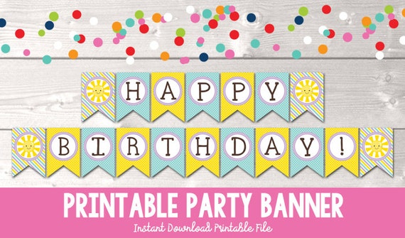 items similar to sunshine happy birthday banner instant