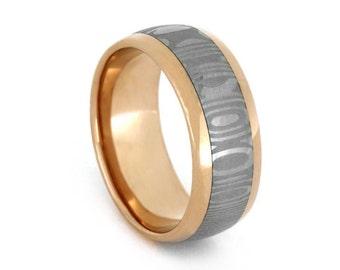 18k Rose Gold Wedding Band, Damascus Steel Ring, Handmade Statement Ring