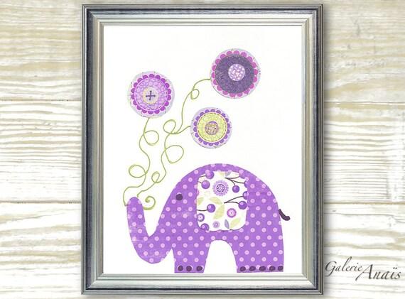 Nursery art print- nursery decor- baby nursery print- kids art- kids room decor- kids wall art- elephant- Balloons- Yoyo Fun print