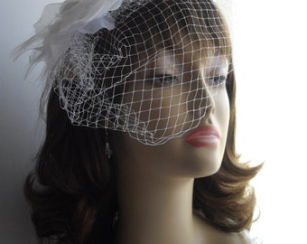 Bird Cage Veil Beach Wedding Headpiece White Fascinator Ready To Ship  Feathers Crystal Lag Flower Handmade Embellishments Rhinestones