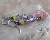 Mystery Beads from Old Stash & Sterling Silver 3 Bead Dangle Earrings . Rustic Style Jewelry