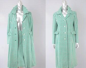 Dorothy Bullitt houndstooth coat & skirt   vintage 1960s suit   60s wool coat