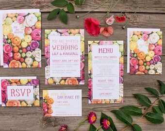 Colourful Ranunculus Watercolour Wedding Invitations and Stationery - DEPOSIT - Floral Wedding Stationery - Artwork by Alicia's Infinity