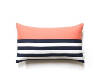 Striped Lumbar Pillow Cover in Peach, Navy and Cream Breton Stripes by JillianReneDecor (12x20) - Modern Home Decor - Cantaloupe, Spring