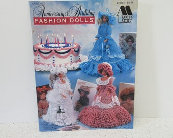 Fashion DOLL Barbie Crochet Anniversary & Birthday Southern Bells Hat Ruffle Old Fashioned Pattern Annie's Attic Months of Year 1996 90s