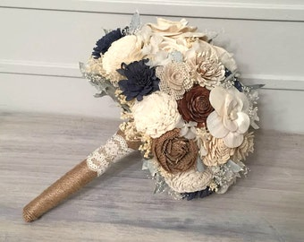 Navy, Burlap, Ivory Bouquet made with sola flowers - choose colors - Custom - Alternative bridal bouquet - bridesmaids - rustic - natural
