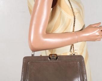 PISTORE Italian VINTAGE Taupe Gray Leather Handbag SHOULDER bag purse