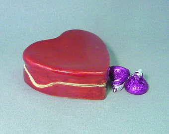 Handmade ceramic heart box, Deep red pottery trinket box, Lidded Valentine Box for jewelry and more