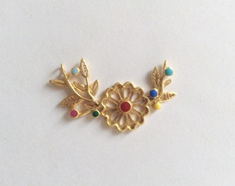 1pc- Matte 22K Gold Plated Base Flower with colorful enameled pendant- Flower 45x18mm-(018-065GP)